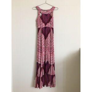 Free People Boho Maxi Dress w/Lace Up Back Sz 0